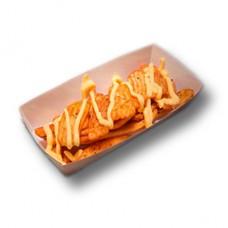Картофель рифленый с сырным соусом